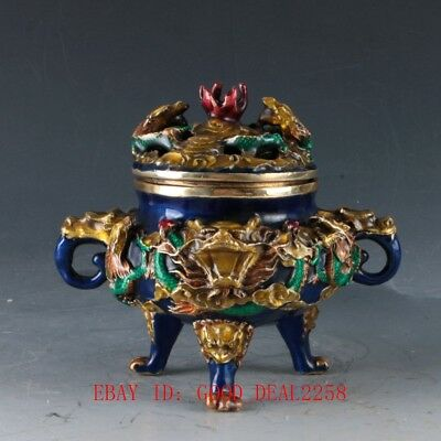 Chinese Cloisonne Hand Carved Dragon incense Burner W Qianlong Mark  GL984