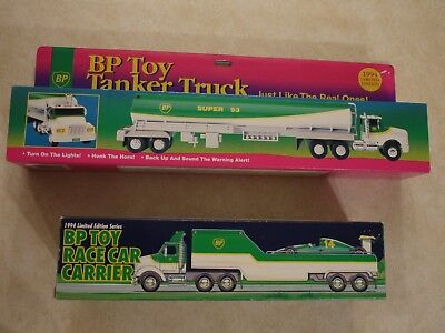 BP Trucks 1994 Limited Edition Toy Tanker and BP Race Car Carrier - NEW