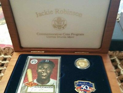 1997 jackie robinson gold coin proof set with patch and baseball card in case.