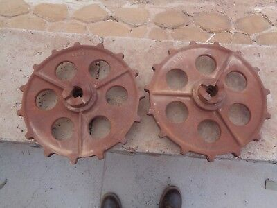 "2 - 11"" Vintage RUSTY GEAR  CAST MACHINE  STEAMPUNK INDUSTRIAL ART LAMP BASE"