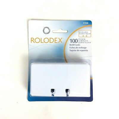 New Rolodex Rotary File Plain Refill Cards 2.25x4 Inch 100 Count Package 67558