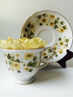 Queen Anne Yellow Tea Cup and Saucer Yellow flowers vine English Bone China