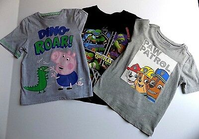 4T boys VGUC Paw Patrol Turtles Peppa Pig 3 pc shirt lot fall BTS G10