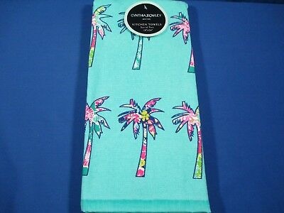 CYNTHIA ROWLEY PALM Tree Kitchen Towel Set Of 2 Tropical ...