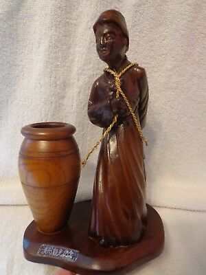 """Vintage Chinese Carved Wooden Statue Figurine, Woman Carrying a Basket 11.75"""" T"""