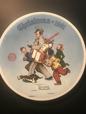 Norman Rockwell Collector Plate Christmas 1991 Edwin Knowles