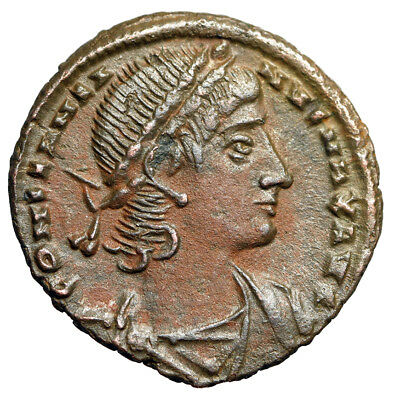 RARE Roman Coin of Constantine II HIGH QUALITY Portrait & Soldiers Alexandria EF