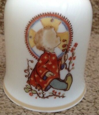 Schmid 1975 Porcelain Christmas Hand Bell A CHILD Hummel PERFECT West Germany