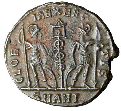 """HIGH QUALITY War Type Roman Coin of Constantius II """"Soldiers, Weapons"""" CERTIFIED"""