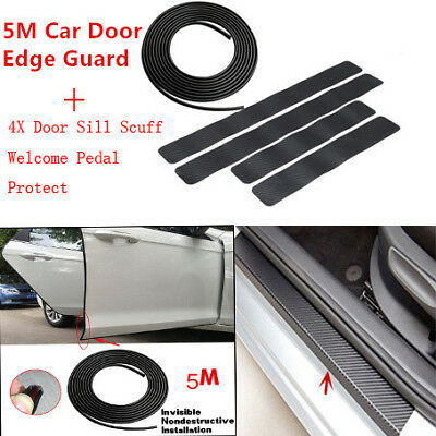 4pc Carbon Fiber Car Door Sill Scuff  Protect Accessories+5M Car Door Edge Guard
