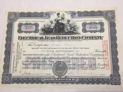 7 Historical stock certs signed by the inventor of the1st Electric Car 1901