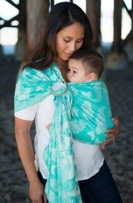 4168f7c8596 Tula Ring Sling nadia lagoon Baby Carrier Sea mermaids blue beach woven wrap  s m