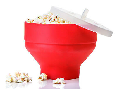 Microwave Silicone Popcorn Popper Maker Red Collapsible Bowl Kitchen  DIY Tool