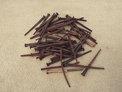 """50 Antique VIntage Square Head Nails 1870s Reclaimed Homestead Barn 3"""" - 3 1/"""