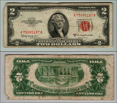 1953C $2 Dollar Bill  Us Note Legal Tender Paper Money Currency Red Seal P741