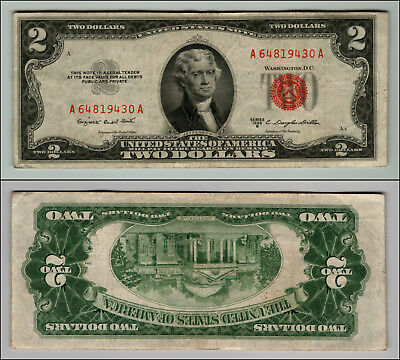 1953B $2 Dollar Bill Old Us Note Legal Tender Paper Money Currency Red Seal P693