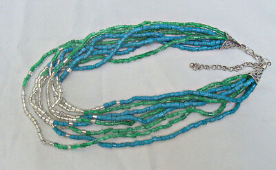 Premier Quality Blue Green  Silver Glass Bead Necklace Multi Strand