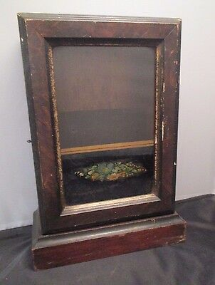 Antique Seth Thomas Wood Clock Case Cabinet Reverse Hand Painted Glass