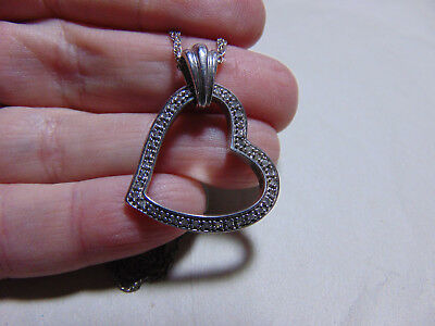 """Sterling Silver Diamond Heart Pendant on double 20"""" 925 Chain Necklace"""
