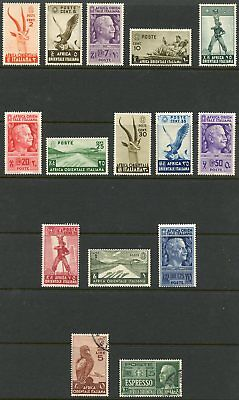 Italian East Africa 1938 Issues,15 Diff Stamps (13 Mint) w/Airmail Eagle 5L Used