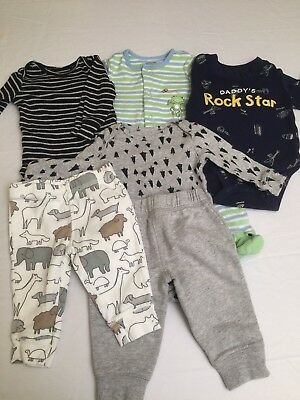 Lot Of 6 Baby Boy Infant Size 3 Months Pants Jumpsuits Carters Little Me 1 Piece
