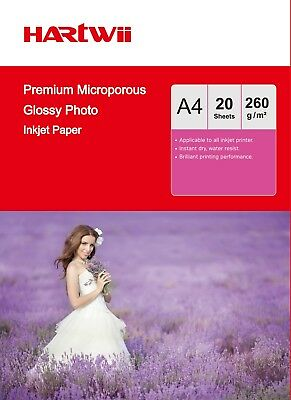 Premium RC High Gloss Photo Paper 100% Waterproof  A4 260Gsm Hartwii -20 Sheets