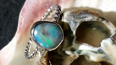 Opal solid Coober Pedy sterling silver ring Handmade