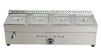 "NEW ! 4-Pan LP GAS Food Warmer Food Heating For Half Size 10.5"" x 13"" x3""Pan"