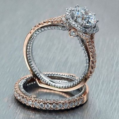 925 Sterling Silver Ring Set Two Tone 14K Solid Rose Gold White Sapphire Diamond