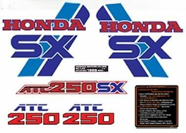 1986 86' ATC 250SX honda decals vintage trike stickers set 7pc ATV graphics