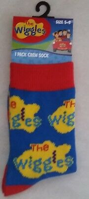THE WIGGLES logo Boy Girl Licensed crew socks sizes 2-5 , 5-8