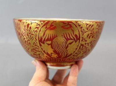 RARE Eiraku Hozen Antique Japanese China Kinrande Porcelain Bowl Dragon Phoenix