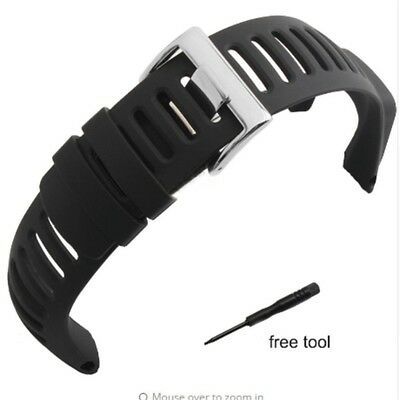 Picowe Watch Band Strap Soft Black Rubber Replacement Watch Band Strap SUUNTO