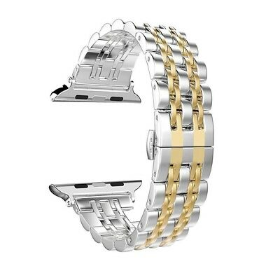 (Gold - 42mm) - Apple Watch Band, PUGO TOP 42mm Stainless Steel Metal
