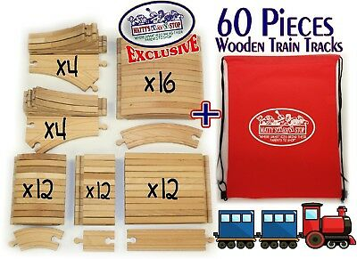 Deluxe Wooden Train Tracks 60 Piece Premium Quality Bulk Expansion Set with