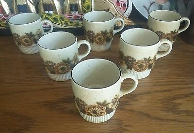 6 Poole Pottery Thistlewood Cups + Sugar Bowl