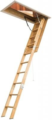 Louisville Elite Wood Attic Ladder Comfortable Slip Resistant Brown Folding
