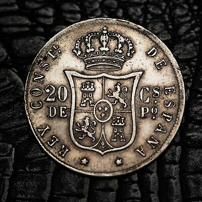 1885 Spanish Philippines 20 Centimos silver coin KM# 149 Spain better grade