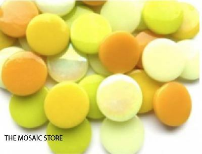 Mixed Yellow Large Glass Dots (Circles, Round Tiles) - Mosaic Tiles Supplies Art