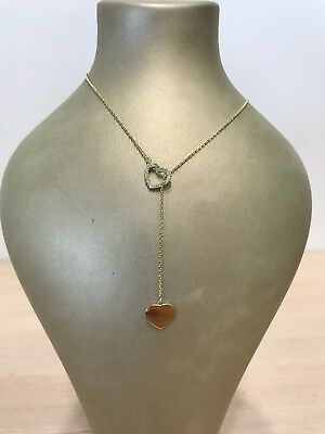 14k solid yellow gold love heart lariat Y chain necklace with diamonds