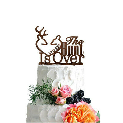 (Walnut Wood) - P Lab Personalised Cake Topper The Hunt Is Over Date Custom
