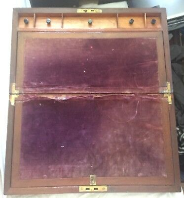 Victorian Mahogany Writing Slope Felt Hidden Sceret Drawer Brass Banding