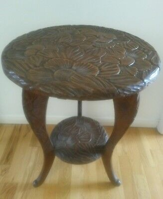 """Beautiful Tall Ornate Carved Dark Wood Side Table 27"""" high"""