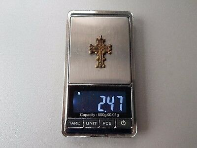 ORIGINAL ANCIENT BYZANTINE GILDED BRONZE CROSS JESUS CHRIST GOLGOTHA 17th-18th C