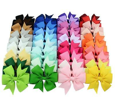 40PCS 3 inch Grosgrain Ribbon Child Hair Bows in Pure Color With Clips 40 Colors