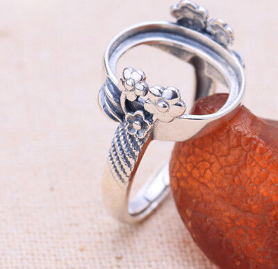 12*15mm 925 STERLING SILVER  diy gift Base Blanks Pad ring Setting flower P2131