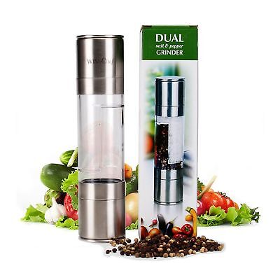 WiseChef Salt and Pepper Grinder 2in1 Dual Mill Set HQ Shaker Stainless Steel an