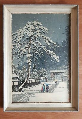 Original Framed Kawase Hasui Temple In Snow Woodblock Print 1931