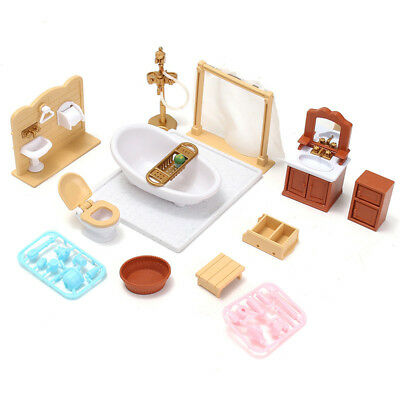 Mini Doll House Miniature Bathroom Wooden Furniture Set Kids Pretend Play Toy