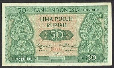 Indonesia 50 Rupiah 1952 Stylized Trees with Birds (3 letters) P45